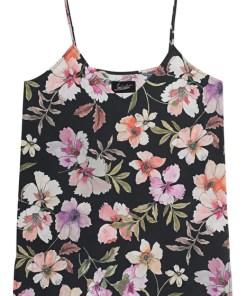V Neck Silk Flower Multicolor