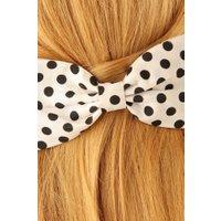 50s Polka Dot Hair Bow in White