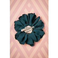 50s Sparkly Satin Flower Brooch in Pacific Blue