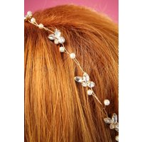 50s Crystal and Pearl Hairband in Gold