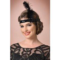 20s Zelda Sequins Feather Headband in Black