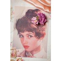50s A Rose Is A Rose Is A Rose In Lila Hair Clip Brooch