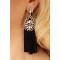 20s Sparkly Tassel Earrings in Black