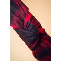 50s Tartan Hairband in Red and Navy