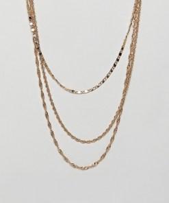 ASOS DESIGN - Mehrreihiges Halskettenset im Vintage-Stil in Gold - Gold