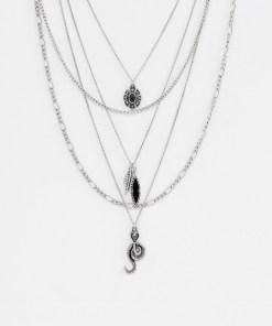 ASOS DESIGN - Set aus mehrreihigen Halsketten mit Schlangen-Design in Silber poliert - Silber