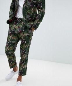 ASOS DESIGN - Schmal zulaufende Anzughose in Leinenoptik mit grünem