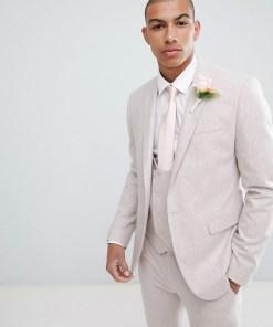 ASOS DESIGN - Wedding - Enge Anzugjacke in Rosa aus Wollmischung - Rosa