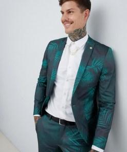 Twisted Tailor - Superenge Anzugjacke mit Blätterdruck - Grün