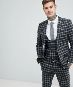 Twisted Tailor - Sehr eng geschnittene Anzugjacke in Grau kariert - Grau