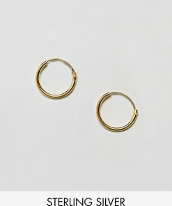 ASOS DESIGN - 12 mm-Creolen aus goldbeschichtetem Sterlingsilber - Gold