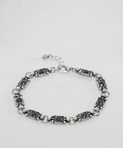 ASOS DESIGN - Silber poliertes Kettenarmband mit Steinen - Silber