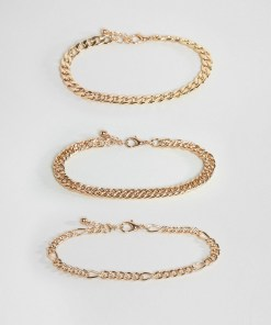 ASOS DESIGN - Packung goldfarbiger Armbandketten im Vintagedesign - Gold