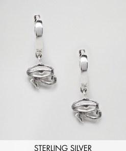 ASOS DESIGN - Creolen aus Sterlingsilber mit Horusauge - Silber