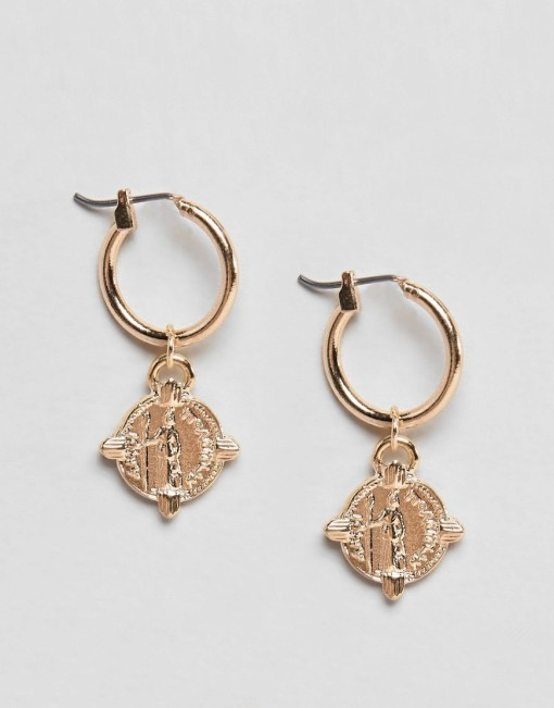 ASOS DESIGN - Goldene Creolen mit Münzen - Gold