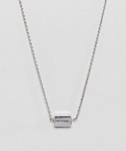 Icon Brand - Halskette in Altsilber mit Nadelstreifendesign - Silber