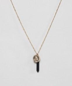 Burton Menswear - Goldene Halskette mit Steg- und Münzanhängern - Gold