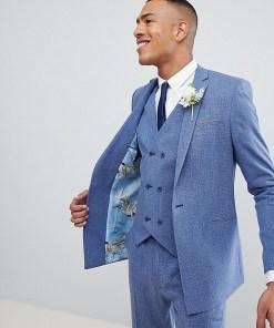 ASOS DESIGN Tall Wedding - Enge Anzugjacke in Provence-Blau mit Schraffurmuster und bedrucktem Futter - Blau