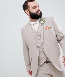 ASOS DESIGN Plus Wedding - Enge Anzugjacke in Rosé mit Fischgrätmuster - Rosa