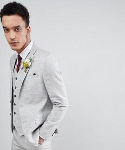 Heart & Dagger - Schmale Hochzeitsanzugjacke aus strukturiertem Leinen - Grau
