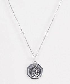 ASOS DESIGN - Halskette aus poliertem Sterlingsilber mit religiösem Anhänger - Silber