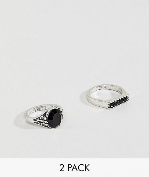 Burton Menswear - Silberfarbene Ringe mit schwarzem Schmucksteindetail und Steg im 2er-Set - Schwarz