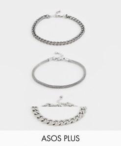 ASOS DESIGN Plus - 3er-Set Kettenarmbänder in polierter Silberoptik mit Prägung - Silber