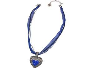 Halskette für Tracht Lissi mit Herzanhänger Allgäu Rebell blau