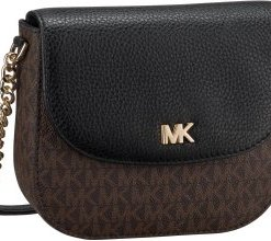 Michael Kors Umhängetasche Mott Half Dome Crossbody MK Signature Brown/Black