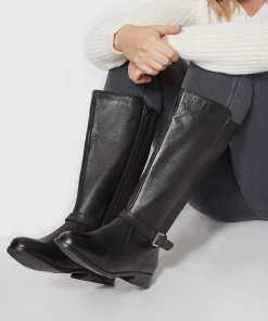 GroBe Größen Schwarze Lederstiefel mit elastischen Einsätzen und YC
