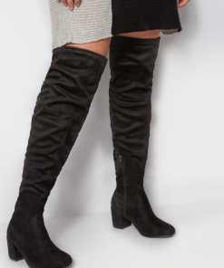 GroBe Größen Schwarze Over Knee Stiefel mit weiter Passform EEE Fit YC