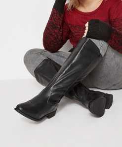 GroBe Größen Schwarze Stretch Kneehigh Reiterstiefel mit weiter YC