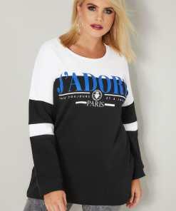 GroBe Größen Schwarzes & WeiBes Sweatshirt mit Colourblocking & YC