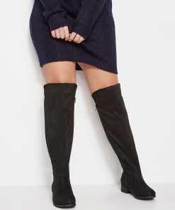 GroBe Größen Schwarze Over Knee Stiefel mit elastischen Einsätzen YC
