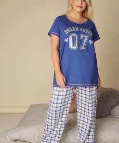 GroBe Größen Blue 'Dream Queen' Pyjama Set YC