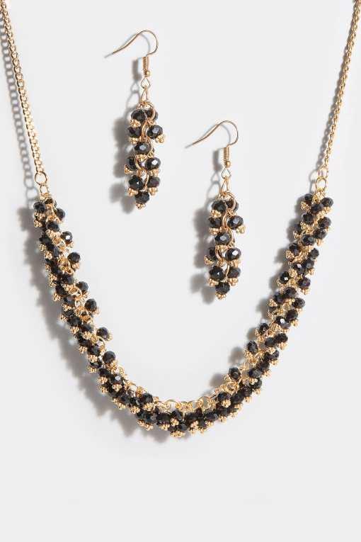 Goldenes & Schwarze Perlen Set mit Halskette und Ohrringen YC
