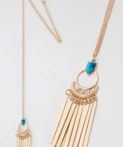 Halskette mit goldener Quaste und blauem Stein YC