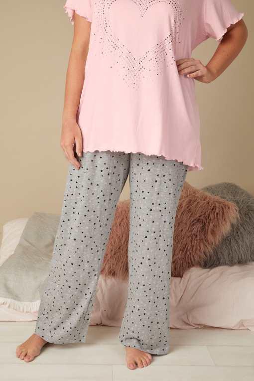 GroBe Größen Graue Pyjamahose mit Herzprint YC