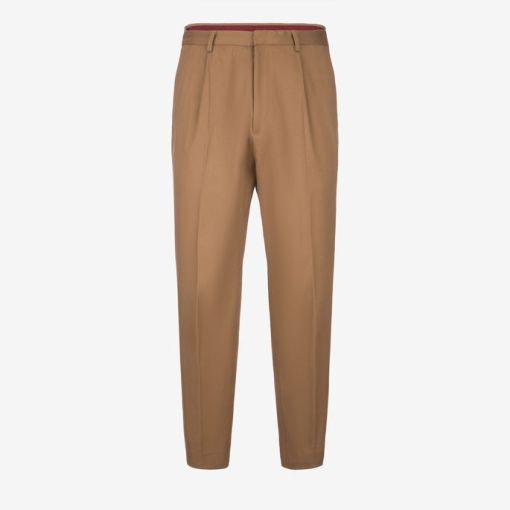 Elastische Hose Aus Baumwolldrillich Braun