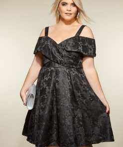 GroBe Größen LOVEDROBE Schwarzes schulterfreies Jacquard Kleid