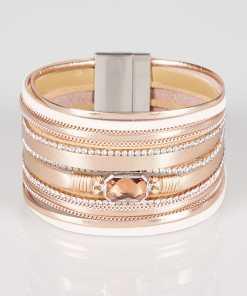 Rosa breites Armband mit Strasssteindetails YC