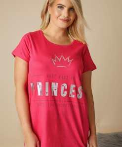 "GroBe Größen Pinkes Pyjamatop mit ""Princess"" Slogan YC"