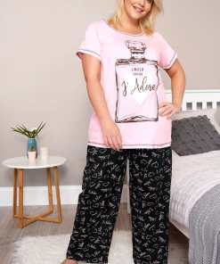 GroBe Größen Pyjama mit Slogan-Print 'J'Adore' - Rosa YC