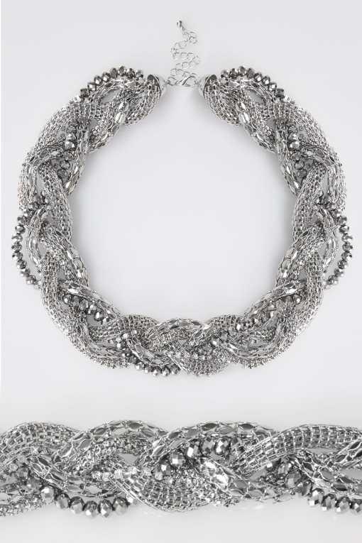 Silber verdrehte Glieder- und Perlenkette YC