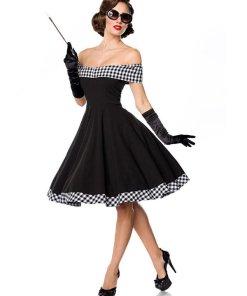 Belsira schulterfreies Swing-Kleid Schwarz