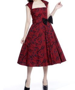 Belted Pleat Dress Red