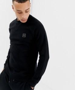 BOSS - Wyan - Schwarzes Sweatshirt mit Rundhalsausschnitt und Logo - Schwarz