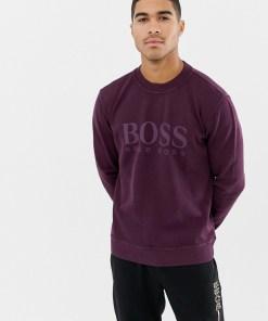BOSS - Violettes Sweatshirt mit Rundhalsausschnitt und großem Logo - Violett