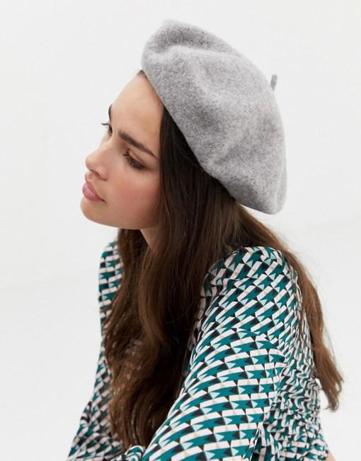 ASOS DESIGN - Baskenmütze aus Wolle - Grau