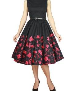 Sleeveless Dress Black Red